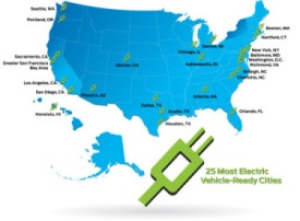 25 most electric car ready cities Source: Ford Motor Company US Electrification Map