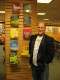 Serth Leitman, The Green Living Guy at the Barnes and Noble in Santa Monica, CA the Grove next to all of his books.