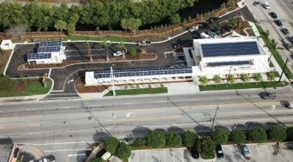 """Image Source #1: PNC Bank's """"green branch"""" in Ft. Lauderdale, Fla., adds an increasingly popular twist to traditional building construction: Direct current powers LED lights right off the facility's 211 solar panels, eliminating the loss from AC-DC conversion. Photo courtesy of PNC Bank."""