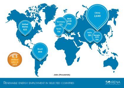 IRENA Global Map of Renewable Energy Jobs