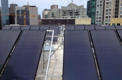 Let's hear it for Thermal Solar in Affordable Housing!! First of all, Satellite Affordable Housing Associates is based in Berkeley, California. For they embarked on its largest rehabilitation project to date. Harrison Street San Francisco, CA Thermal System Size 56 Collectors Solar Water Heating Equipment Heliodyne Gobi