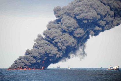 BP Oil Spill Explosion Photo taken June 22, 2010. Photo courtesy Dr. Oscar Garcia / Florida State University