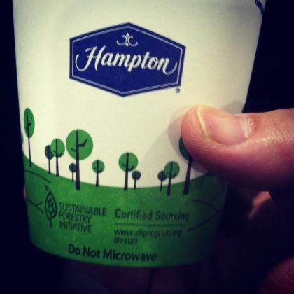 Sustainable Cups at all Hampton Inn.