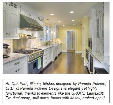 An Oak Park, Illinois Kitchen's designed by Pamela Polvere. CKD of Pamela Polvere Designs is elegant yet highly functional, thanks to GROHE.