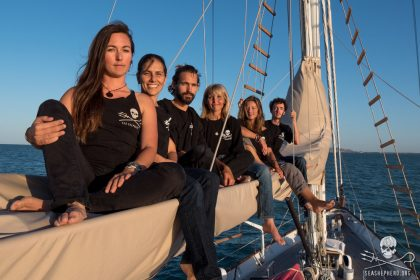 This is the crew of the R/V Martin Sheen on Operation Milagro. (photo credit: Sea Shepherd/Carolina A Castro)
