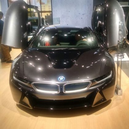 Back at the 2013 North American International Auto Show, my buddy fromGeekazineand I raided the new cardisplay from BMW called the i8. So this is a BMW i8 throwback. LOL Now of course we all know this car but man it was funny how i got into the glass doors to touch the car.