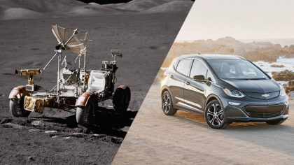 Lunar rover/ Chevy Bolt are Both electric vehicles