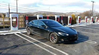 Tesla Model S at fast charging station in Kingston, NY