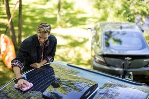Most noteworthy is the design of theVistabule Teardroptrailer. For it harkens back to the 1950's, but the amenities are oh, so new  I mean starting with built-in solar panels by Sunflare.