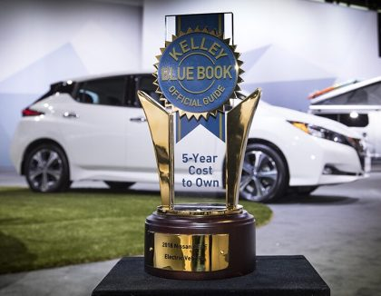 2018 nissan leaf electric car receives lowest cost to own award from kelley blue book green. Black Bedroom Furniture Sets. Home Design Ideas