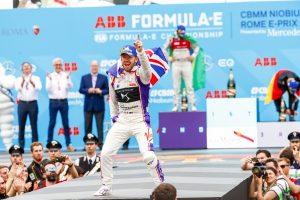 Photo caption: DS Virgin Racing's Sam Bird celebrates victory during today's inaugural Formula E Rome E-Prix