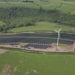 Small wind farm large solar vattenfall. Solar farm at Parc Cynog, Wales. In total, 5 megawatts (MW) of solar panels close to the wind farm.