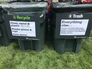 Recycling and compost stations at Pleasantville Music Festival