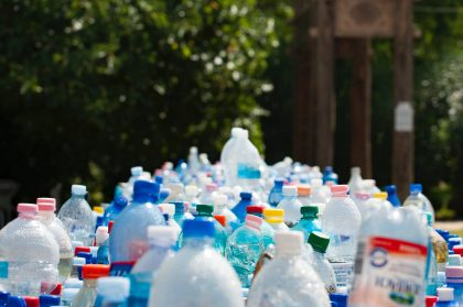 Plastic waste that could be recyclable before being sorted in dumps