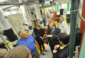 MCCC Director of Campus Planning and Facilities Jack Burns leads a tour of the college's new geothermal system following its dedication just prior to the beginning of the 2017-18 academic year..