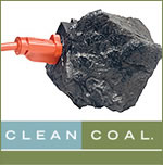 """Clean coal isn't clean, cleancoal, In the ACCCE's $35 million advertising campaign, America """"plugs"""" in to a chunk of coal. Source: ACCCE"""