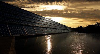 Solar panels are dusk